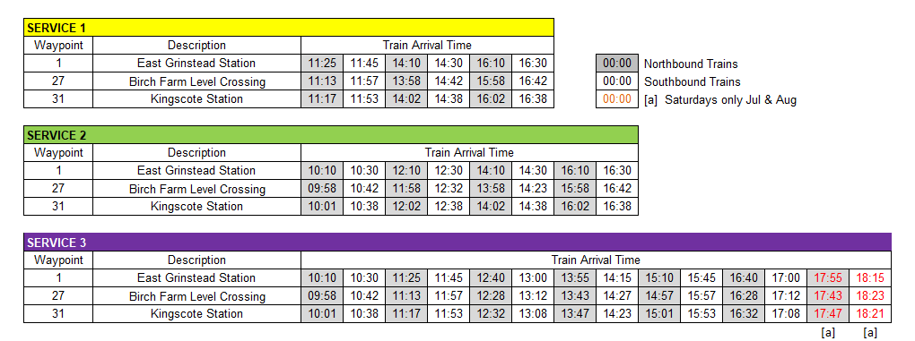 East Grinstead South Walk Arrival Times