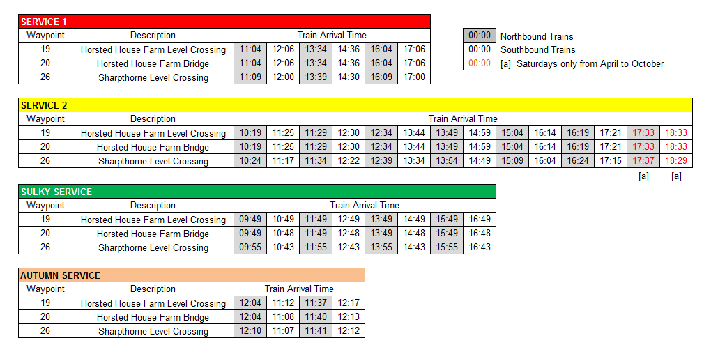 West Hoathly Walk Arrival Times