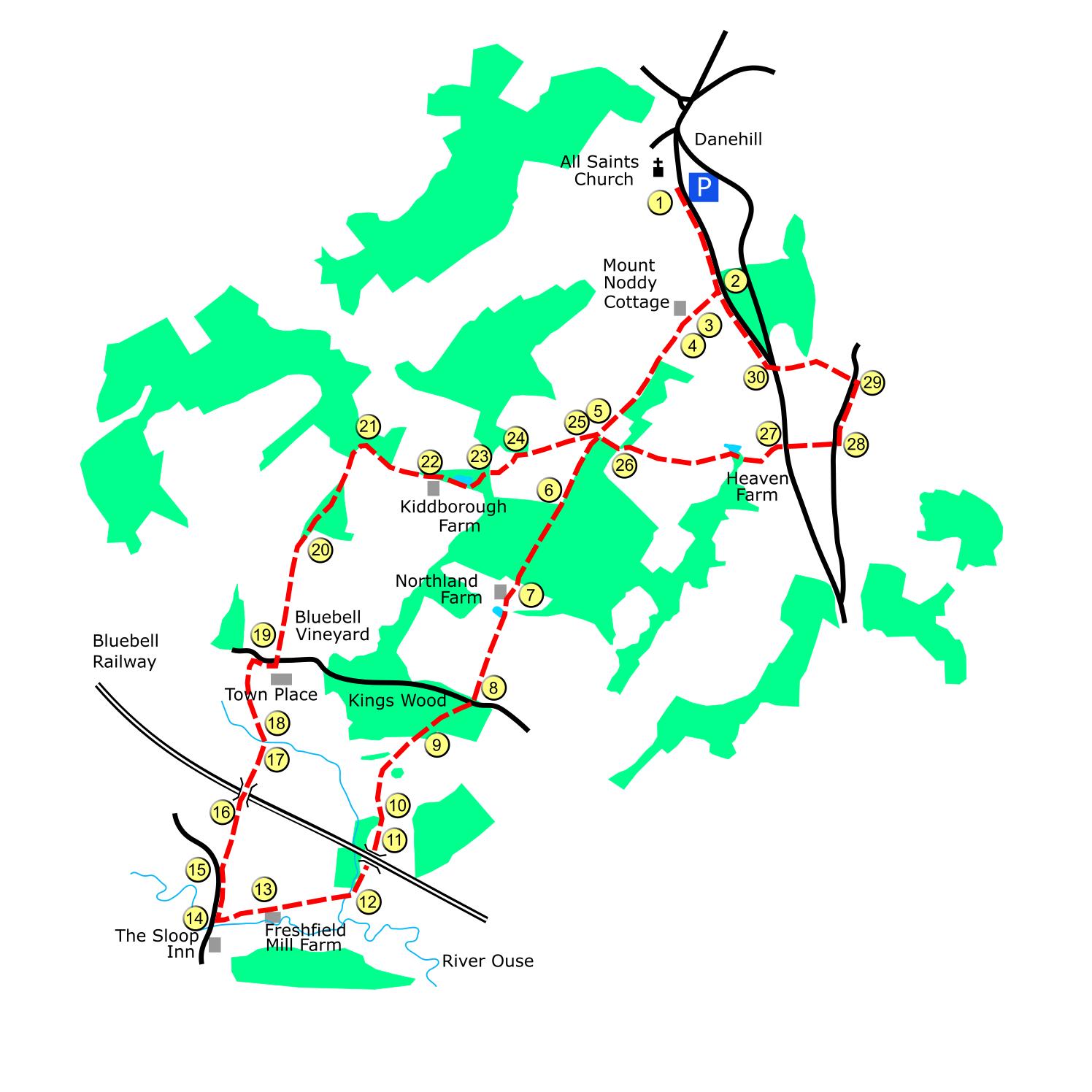 Danehill route map