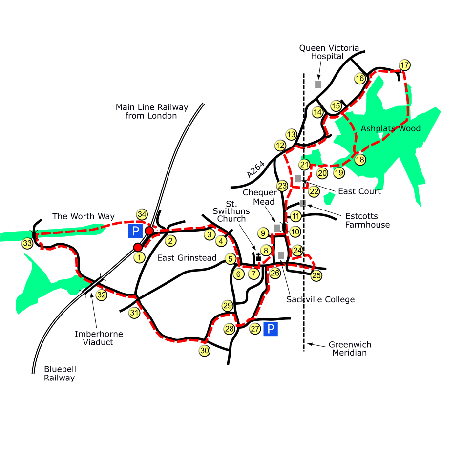 East Grinstead route map