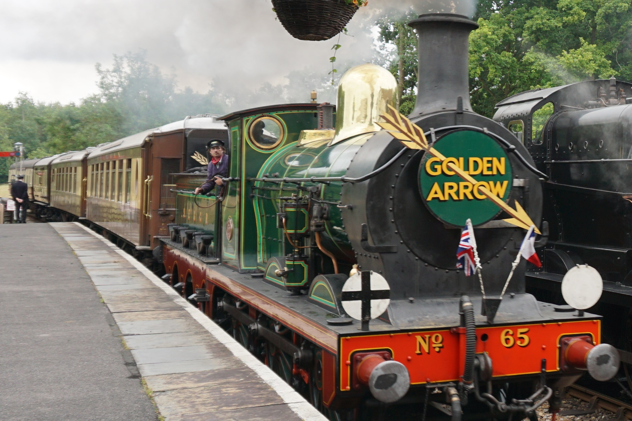 South Eastern Railway Stirling 0-6-0 No.65 - Golden Arrow Service approaching Kingscote Station