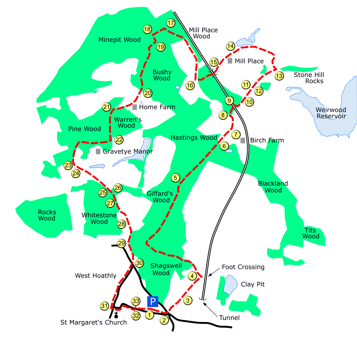 Gravetye route map