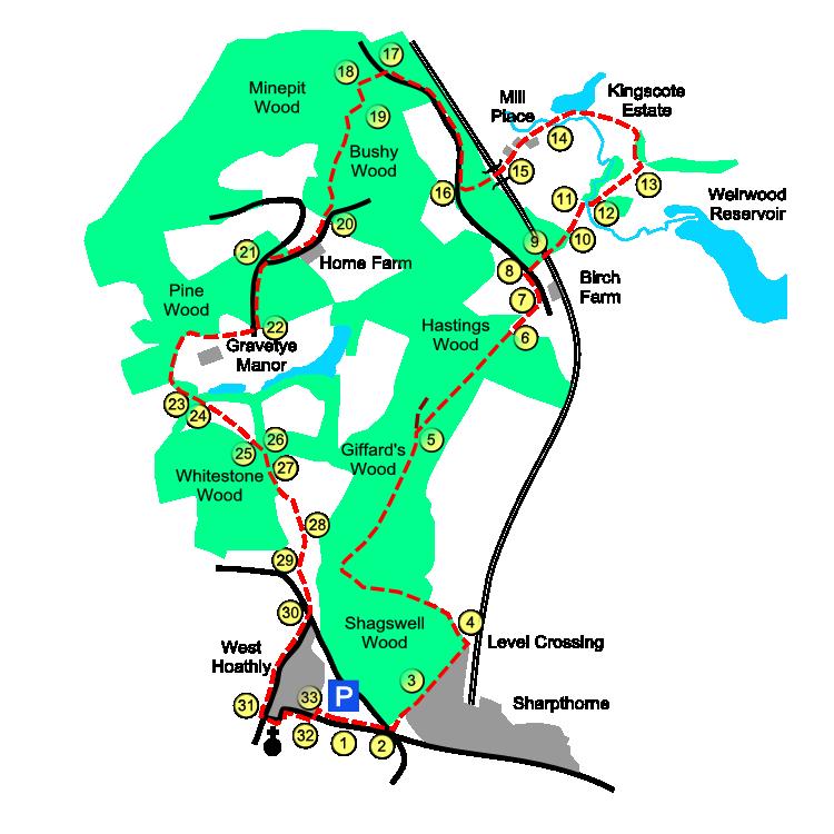 Gravetye route map
