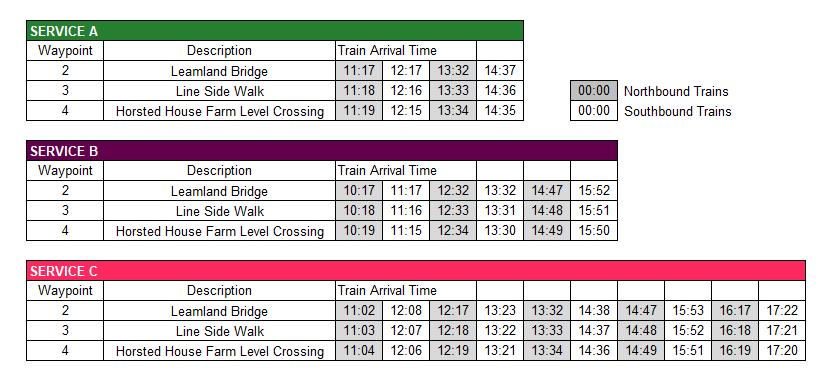 Highbrook Timetable