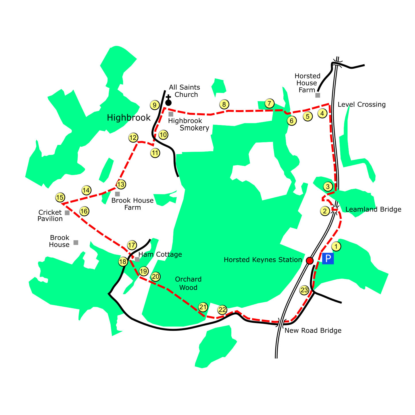Horsted Keynes Station route map