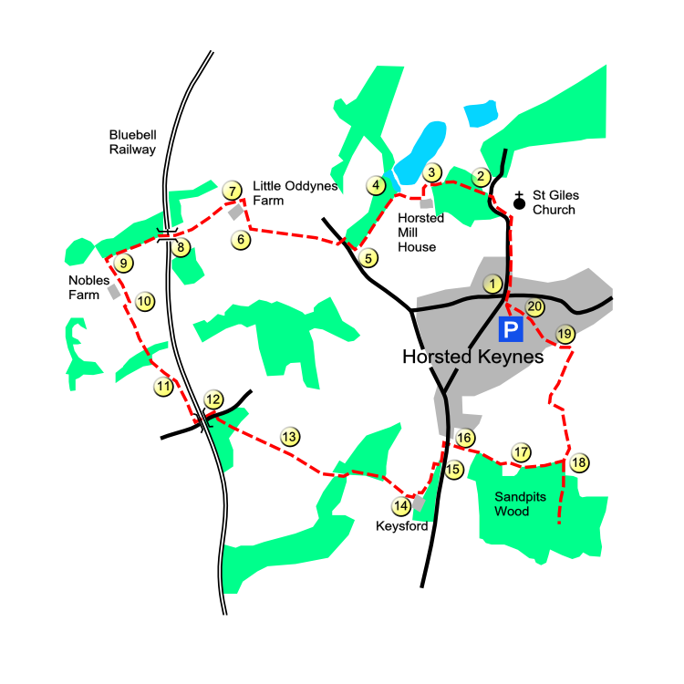Horsted Keynes Village route map