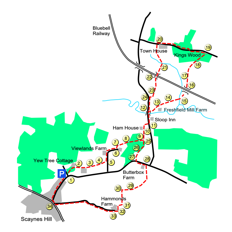 Scaynes Hill route map