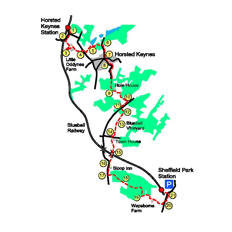 Sheffield Park route map