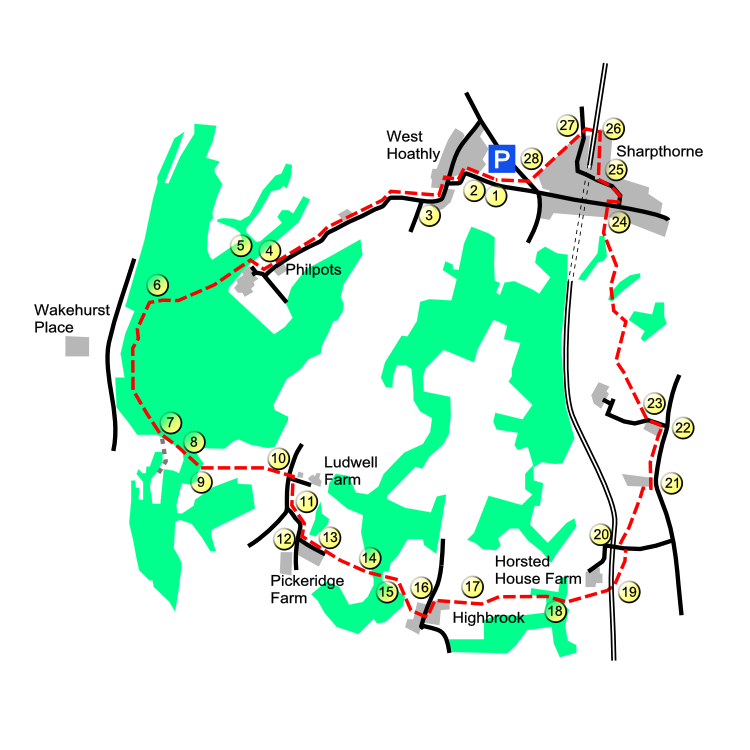 West Hoathly route map