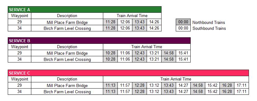 Crawley Down Timetable