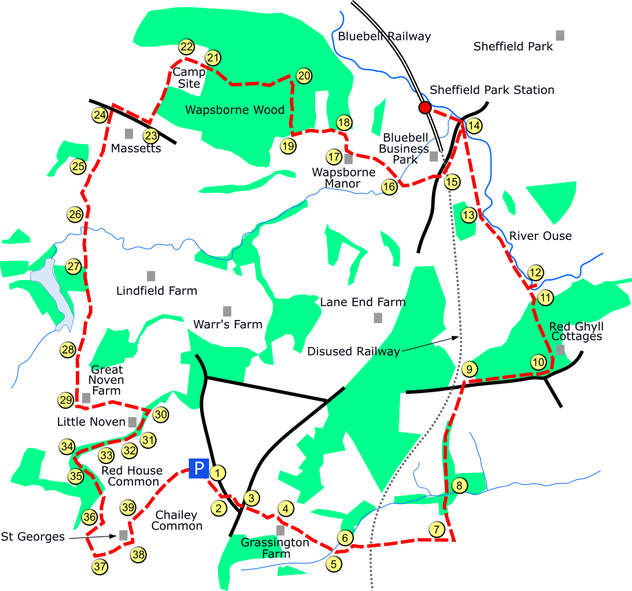 Chailey Common route map
